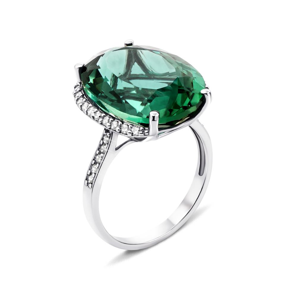 Серебряное кольцо с зеленым кварцем и фианитами (1258/1р-QGR)