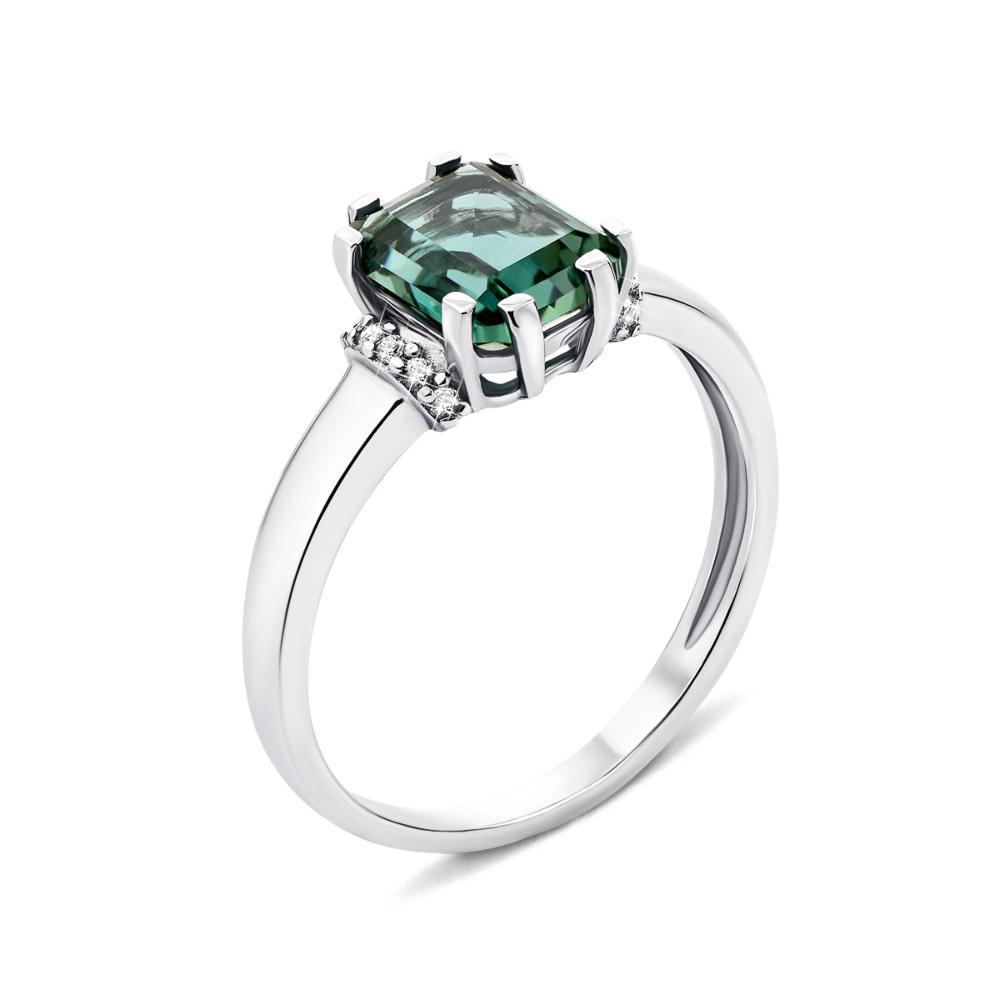 Серебряное кольцо с зеленым кварцем и фианитами (1266/1р-QGR)