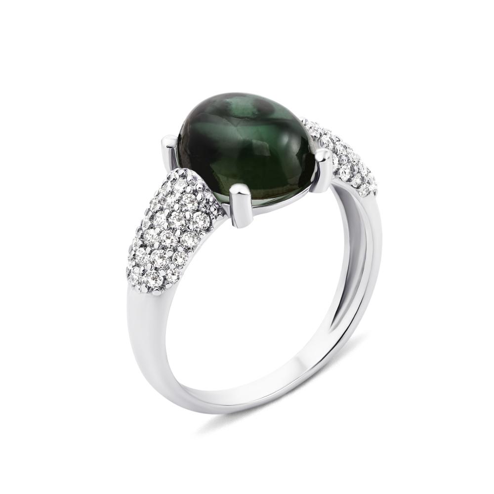 Серебряное кольцо с зеленым кварцем и фианитами (1692/9р)
