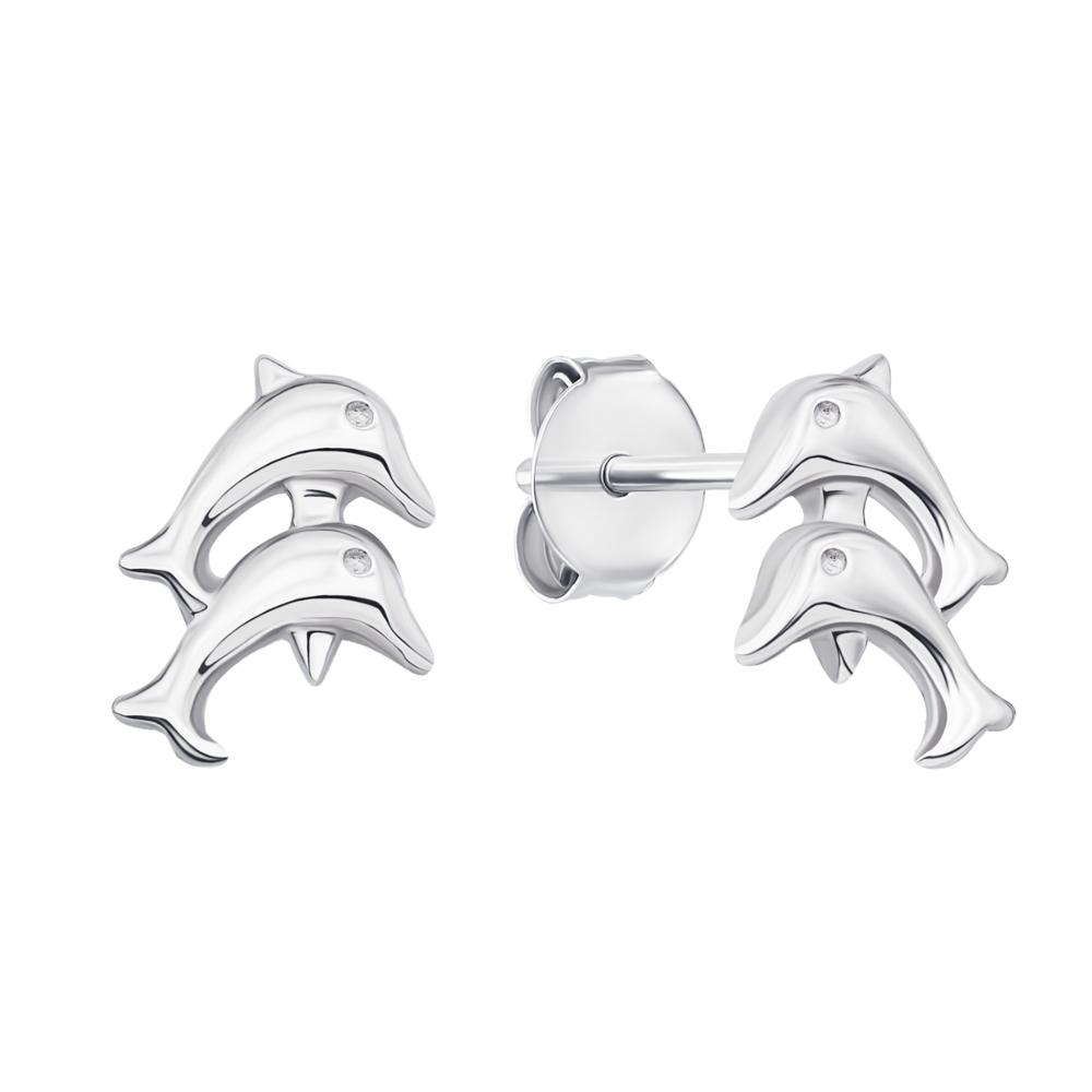 Серебряные пуссеты Дельфины (1EA82974-E)