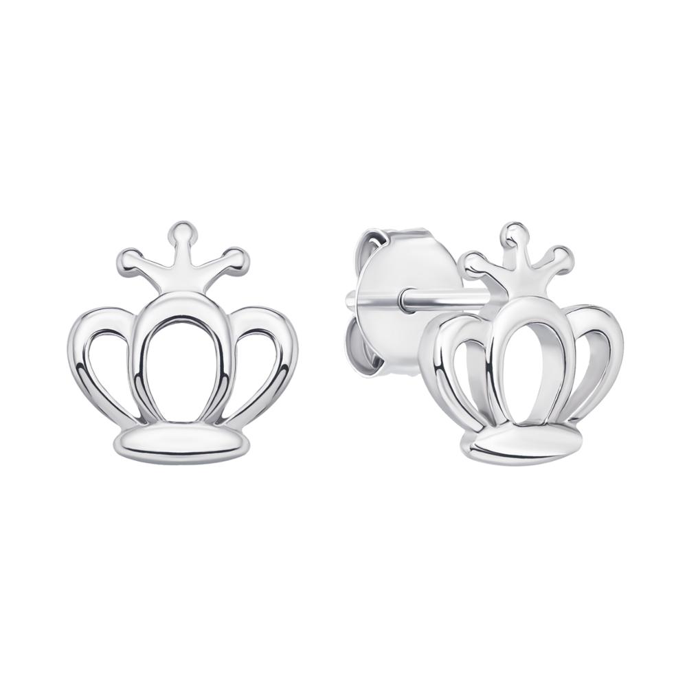Серебряные пуссеты Корона (1EA79417-E)