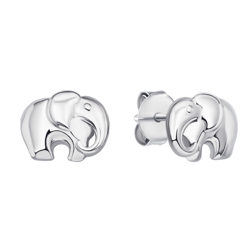 Серебряные пуссеты Слоник (1EA74373-E)
