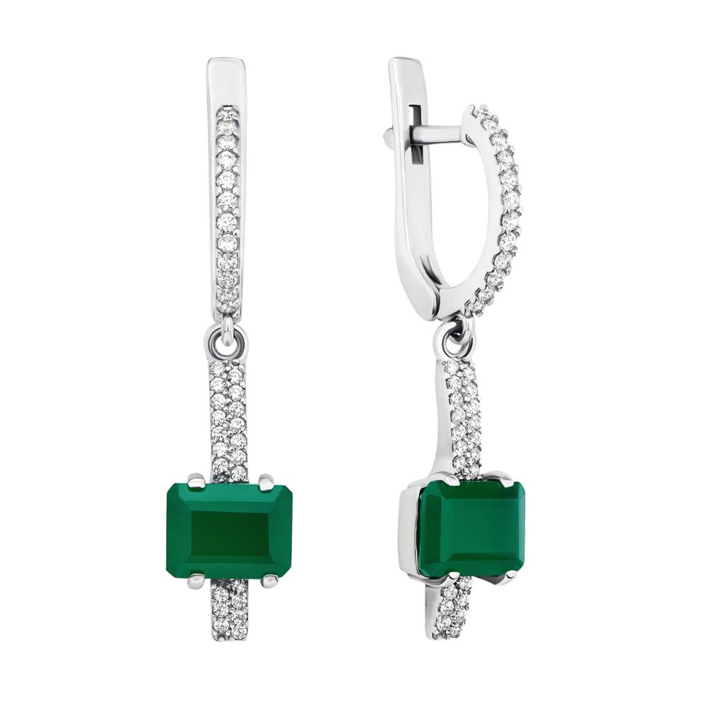 Срібні сережки-підвіски з зеленим агатом і фіанітами (2079/9р)