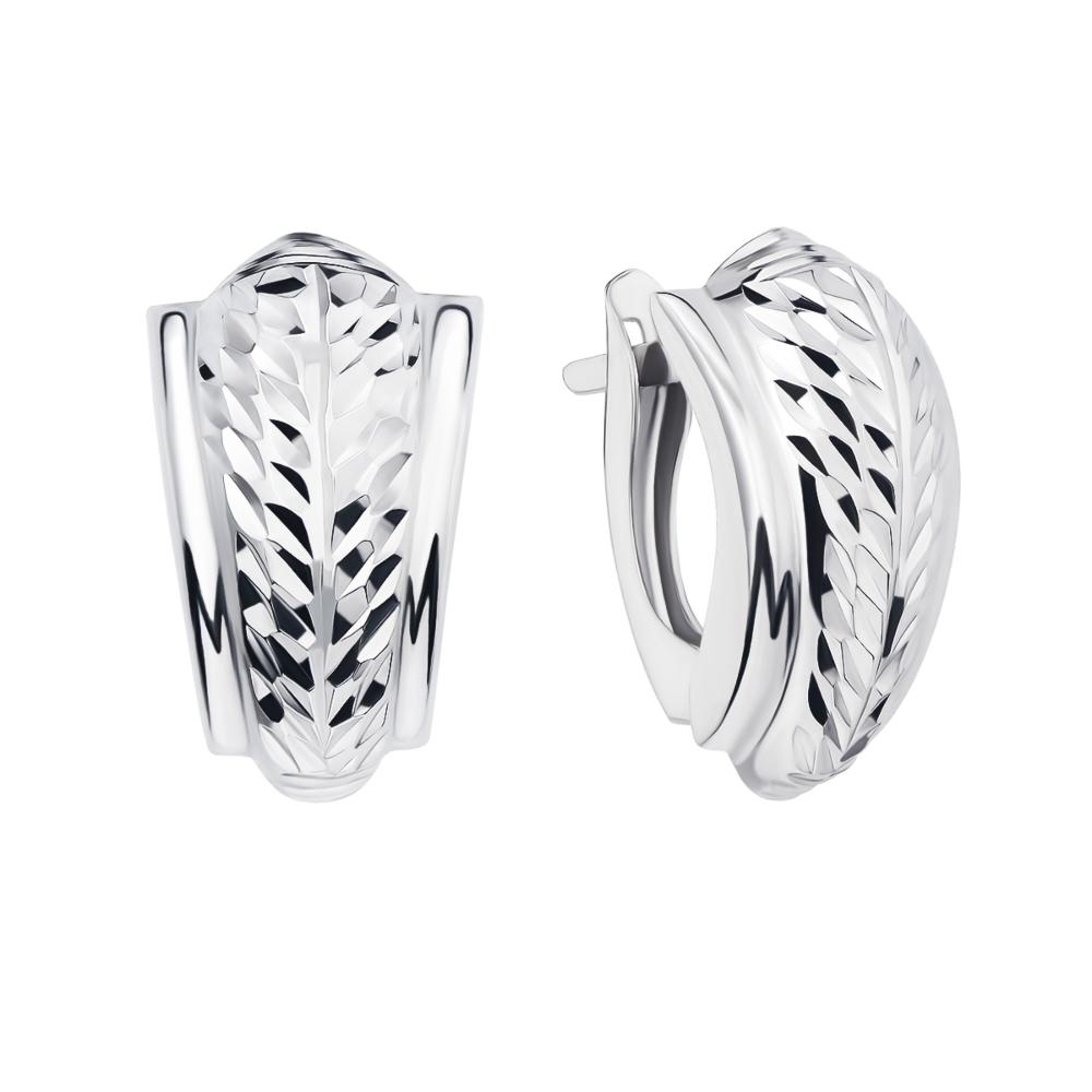 Серебряные серьги с алмазной гранью (02830-3/12/3)