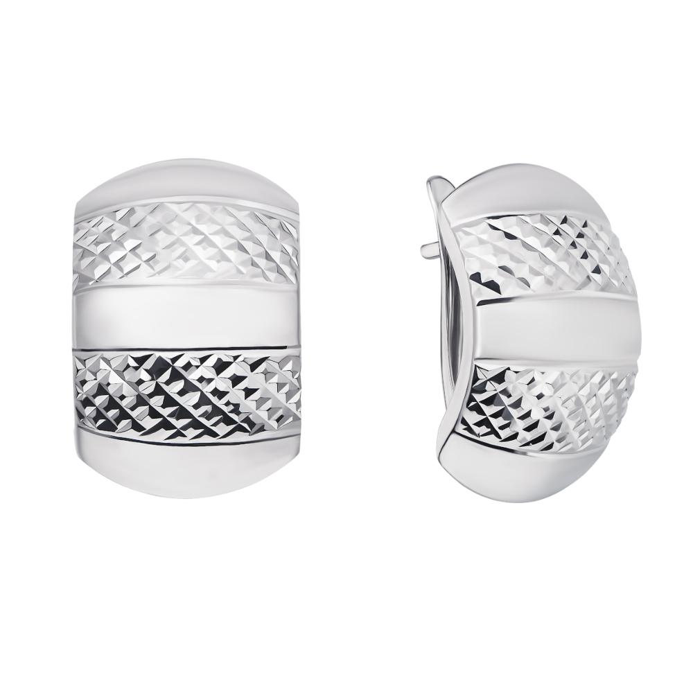 Срібні сережки з алмазною гранню (02896-10/12/3)