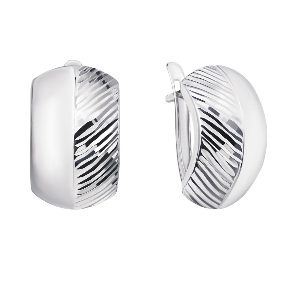 Срібні сережки з алмазною гранню (02897-4/12/3)