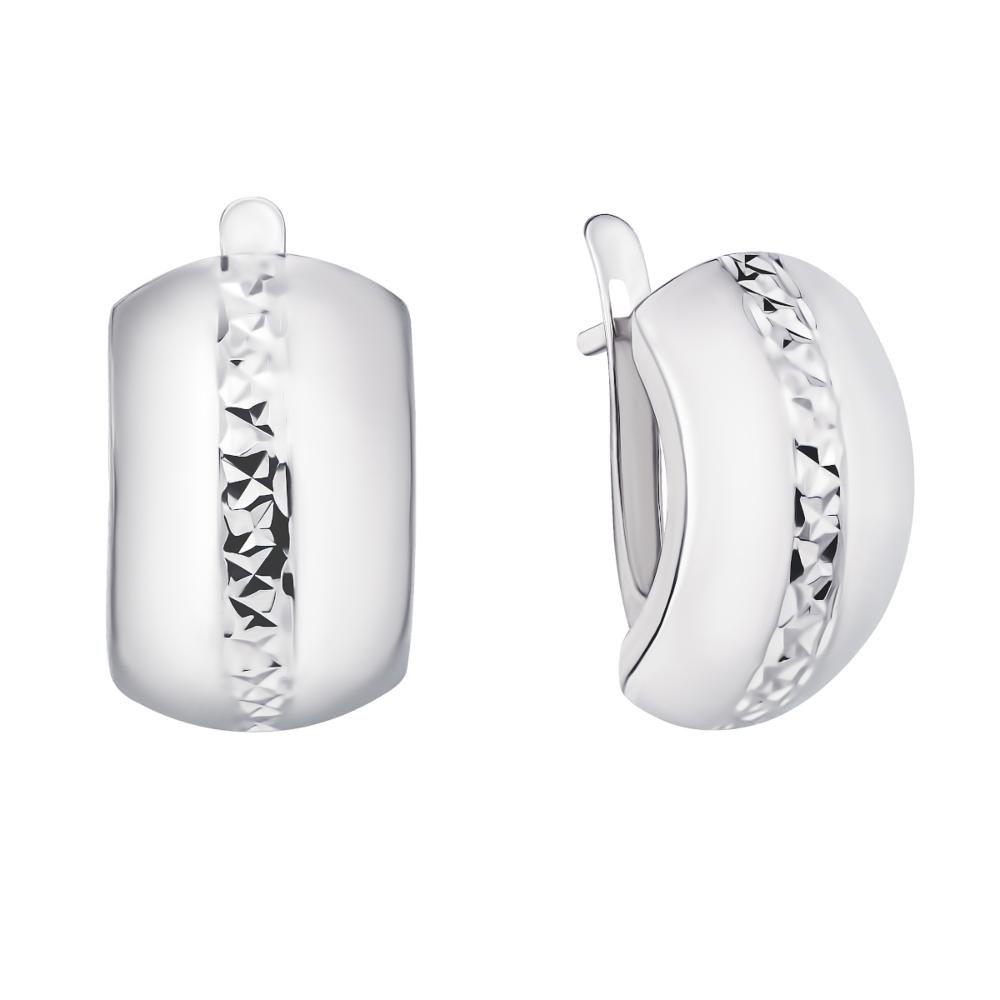 Серебряные серьги с алмазной гранью (02897-5/12/3)