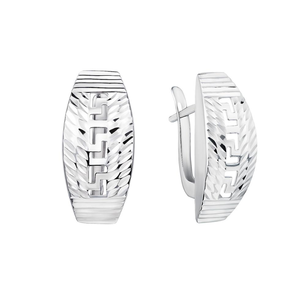 Серебряные серьги с алмазной гранью. Артикул 02913-3/12/3 (с02913/в)