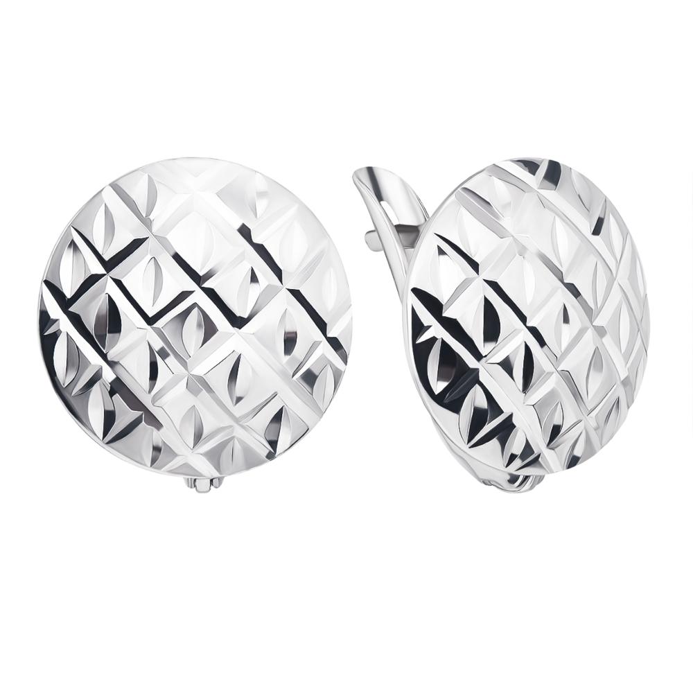 Срібні сережки з алмазною гранню (02915-18/12/3)