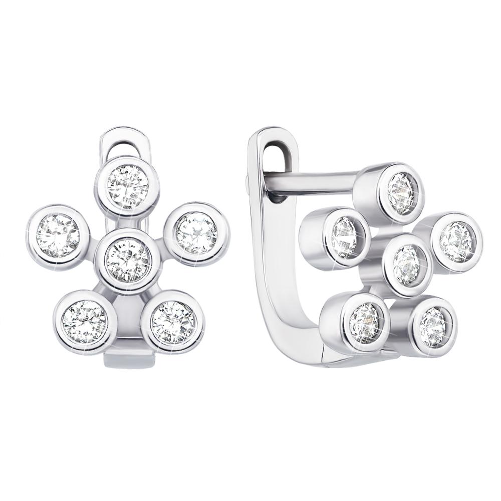 Срібні сережки з фіанітами (1EA81196-E)