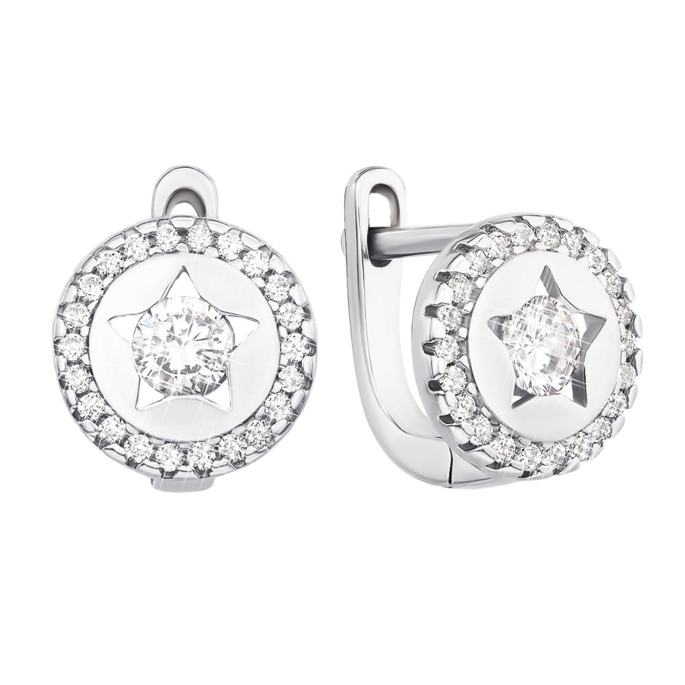 Серебряные серьги с фианитами (1EA81244-E/12/1)