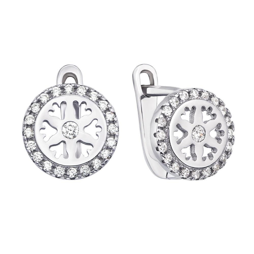 Срібні сережки з фіанітами (1EA81262-E)
