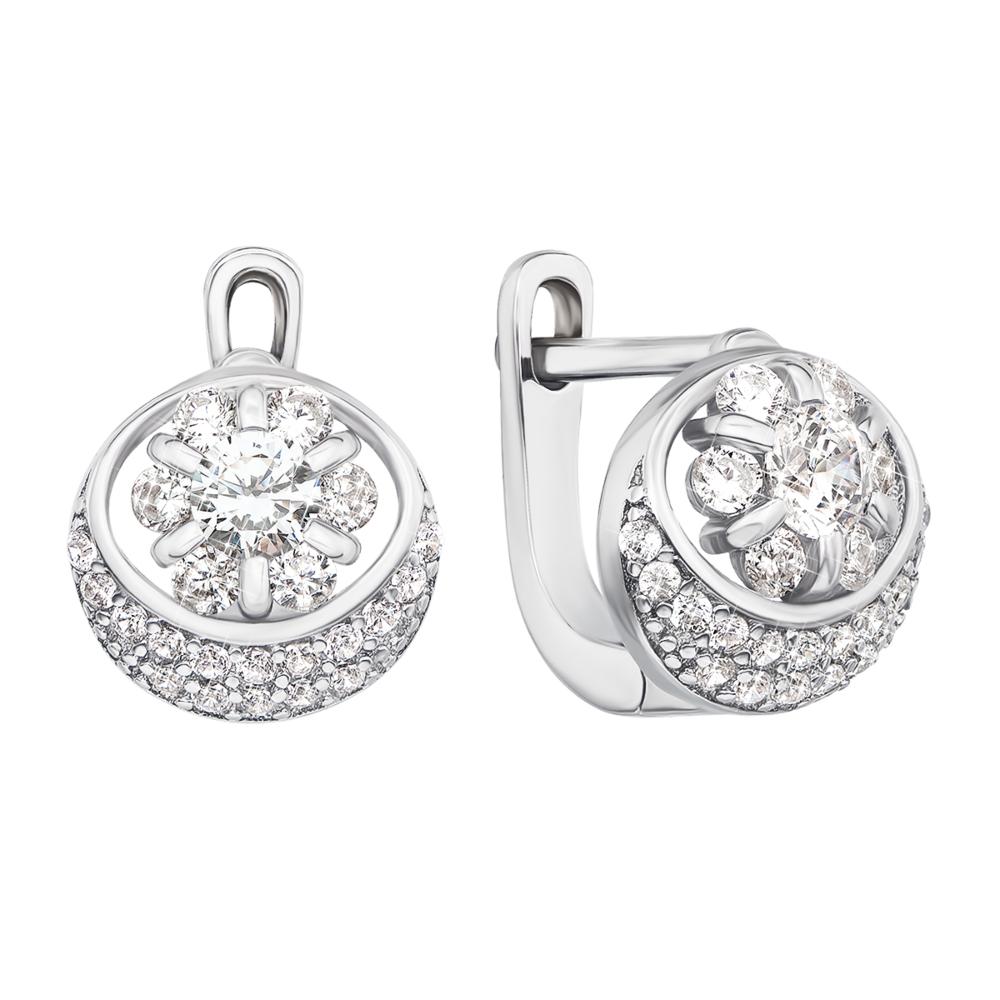 Срібні сережки з фіанітами (1EA81273-E)