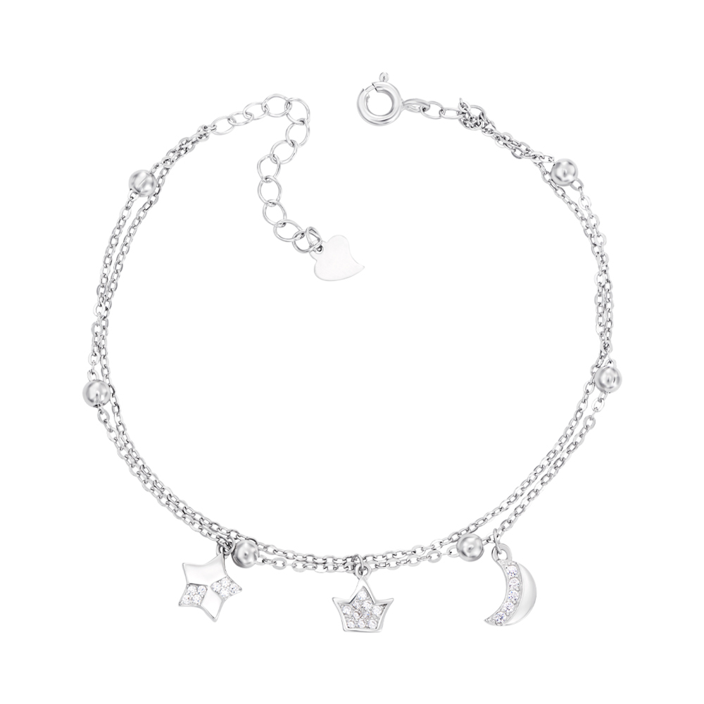 Срібний браслет з фіанітами. Артикул 1BT00523-B/12/1