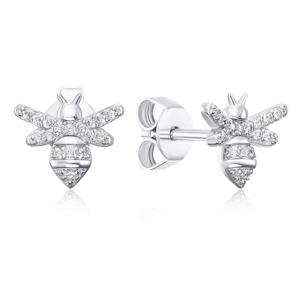 Срібні пусети «Бджілки» з фіанітами. Артикул ME14387A-E/12/1