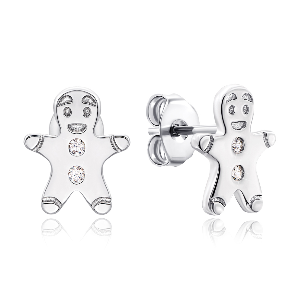 Срібні сережки-пусети з фіанітами. Артикул 1EA82797-E/12/1