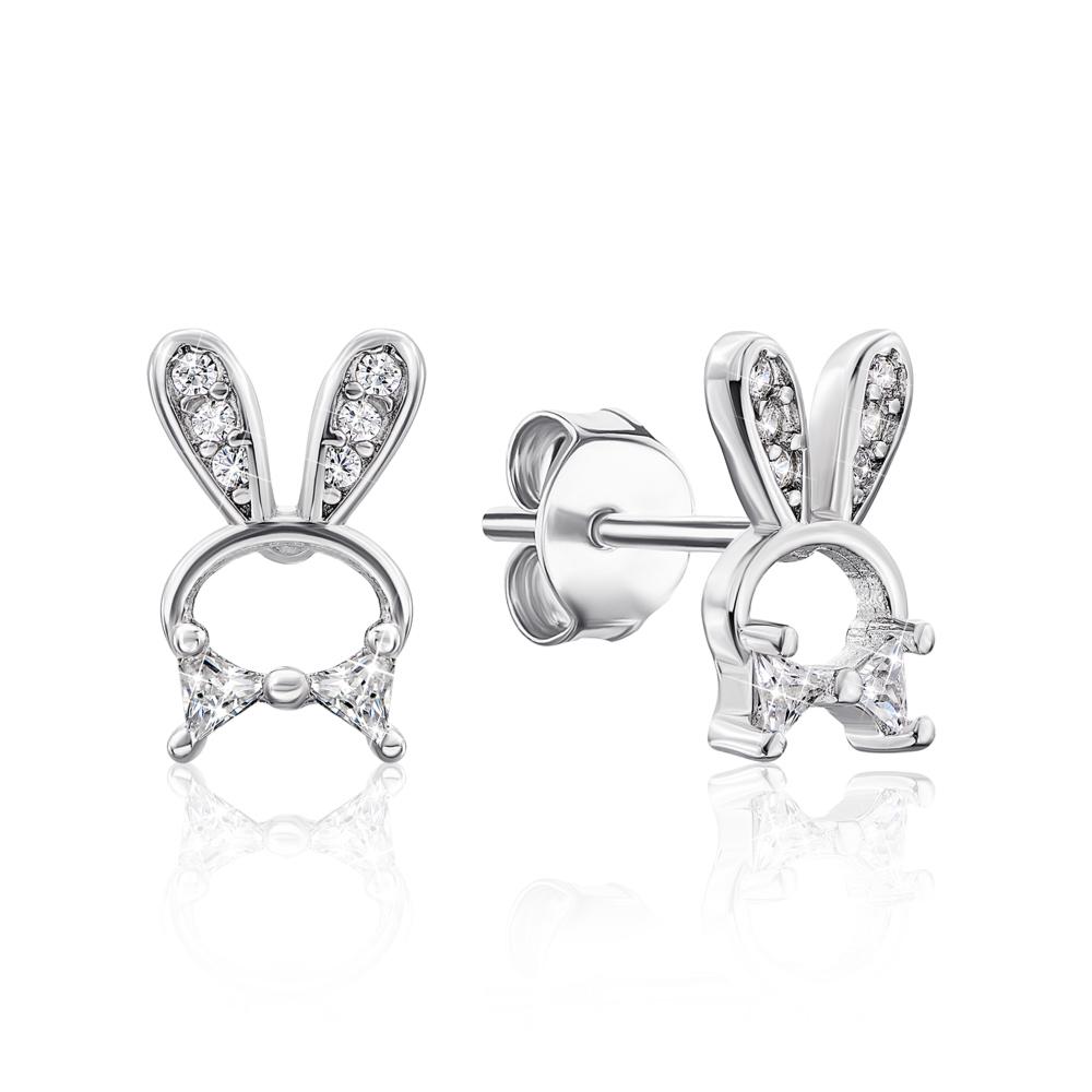 Срібні пусети «Rabbit» з фіанітами. Артикул E4296-E/12/1