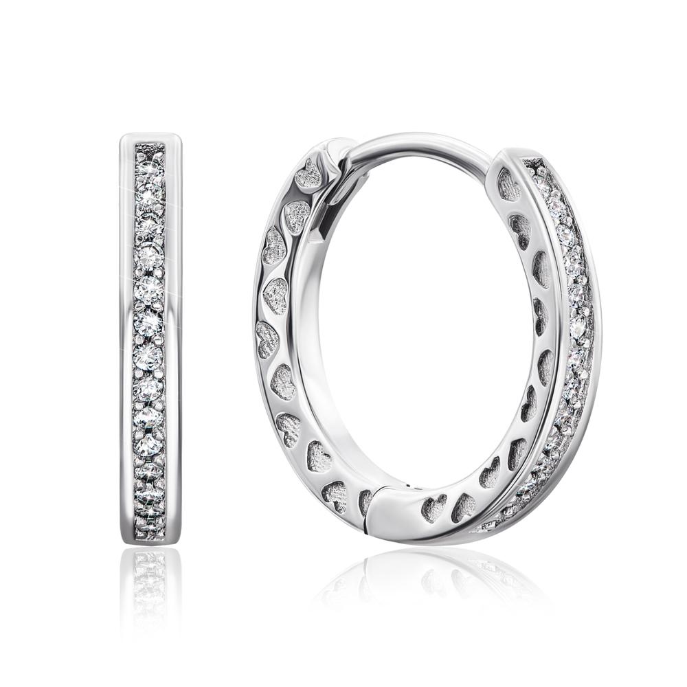 Срібні сережки-конго з фіанітами і емаллю. Артикул E3666-E/12/563