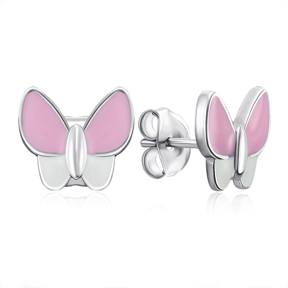 Срібні сережки-пусети «Метелики» з емаллю. Артикул E4531-E/12/1095