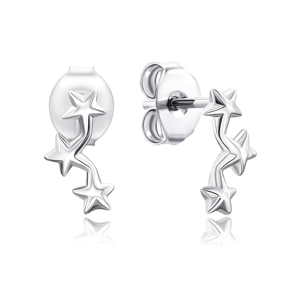 Срібні сережки-пусети без вставки . Артикул 2E15889-E/12