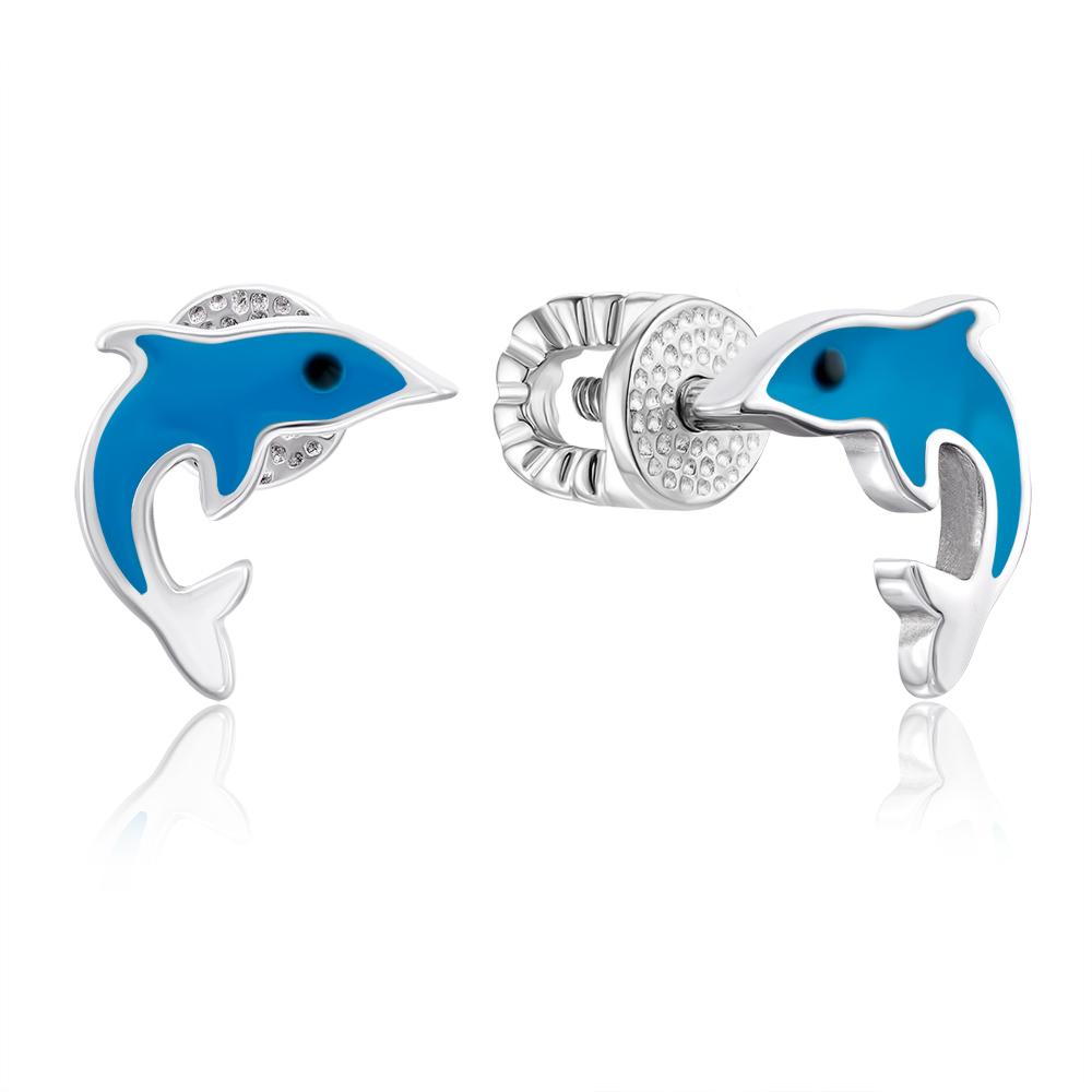 Срібні сережки-пусети «Дельфін» з емаллю. Артикул 40024/12/1/1430