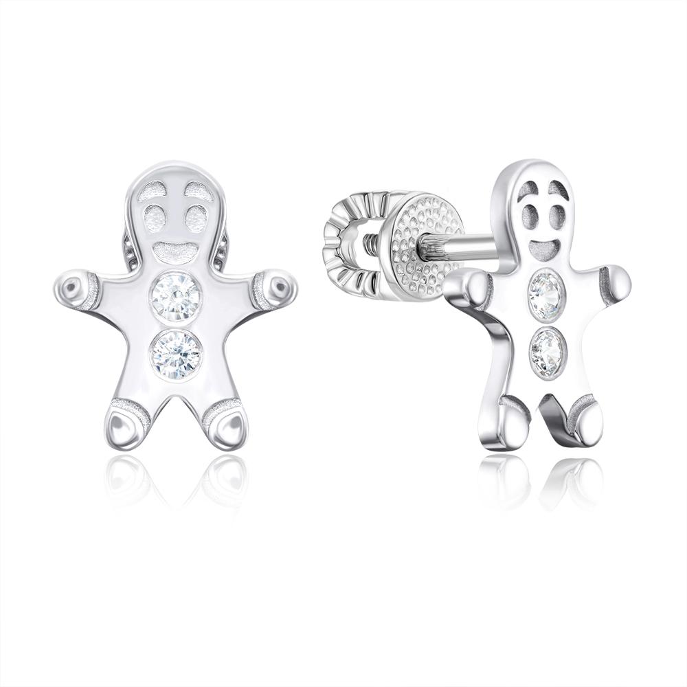 Срібні сережки-пусети з фіанітами. Артикул 40553/12/1/46