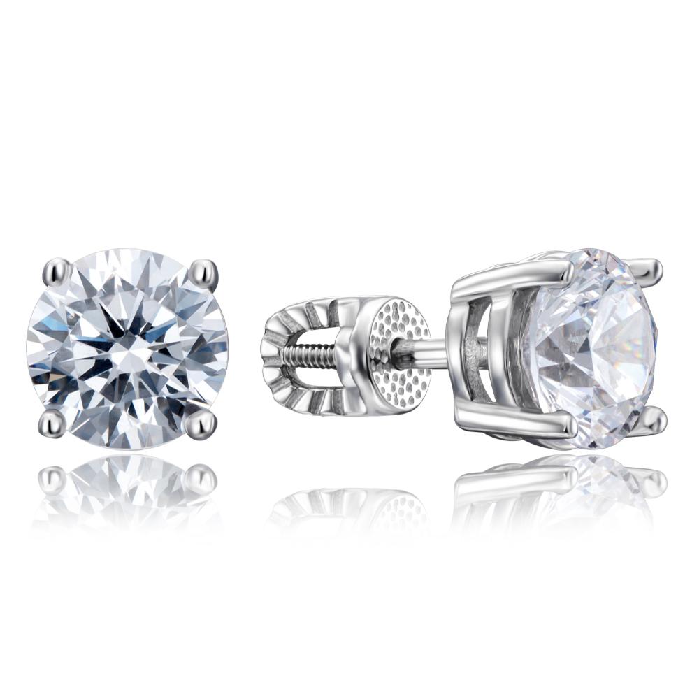 Срібні сережки-пусети з фіанітами Tesori Zirconia. Артикул 40501/12/1/4039