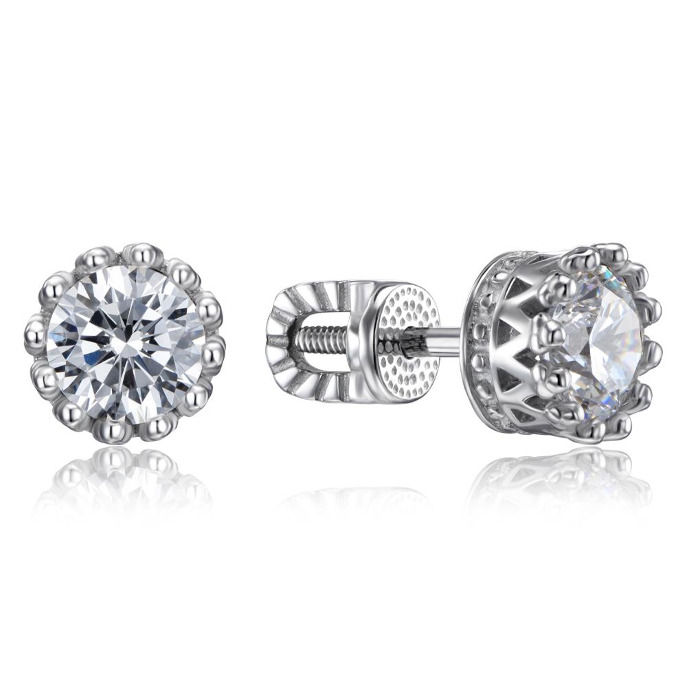 Срібні сережки-пусети з фіанітами Tesori Zirconia. Артикул 40511/12/1/4024
