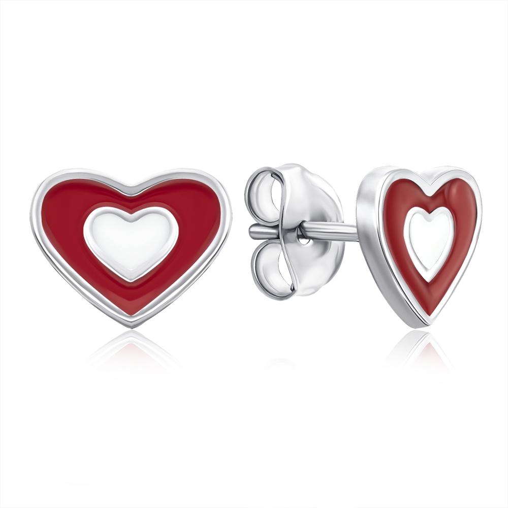 Срібні сережки-пусети «Серце» з емаллю. Артикул E3940-E/12/391