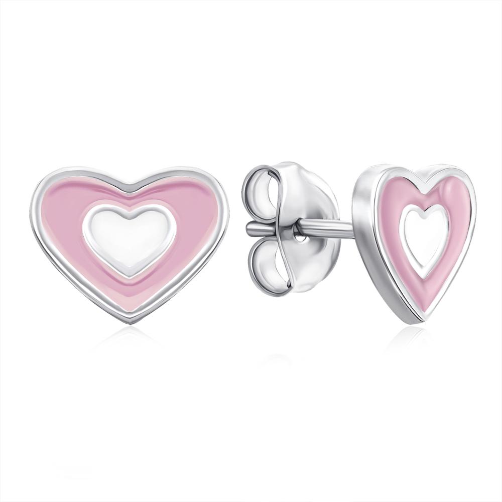 Срібні сережки-пусети «Серце» з емаллю. Артикул E3940-E/12/1095