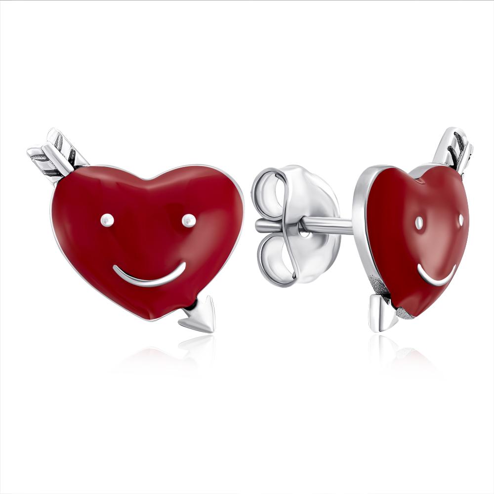 Срібні сережки-пусети «Серце» з емаллю. Артикул E4552-E/12/392