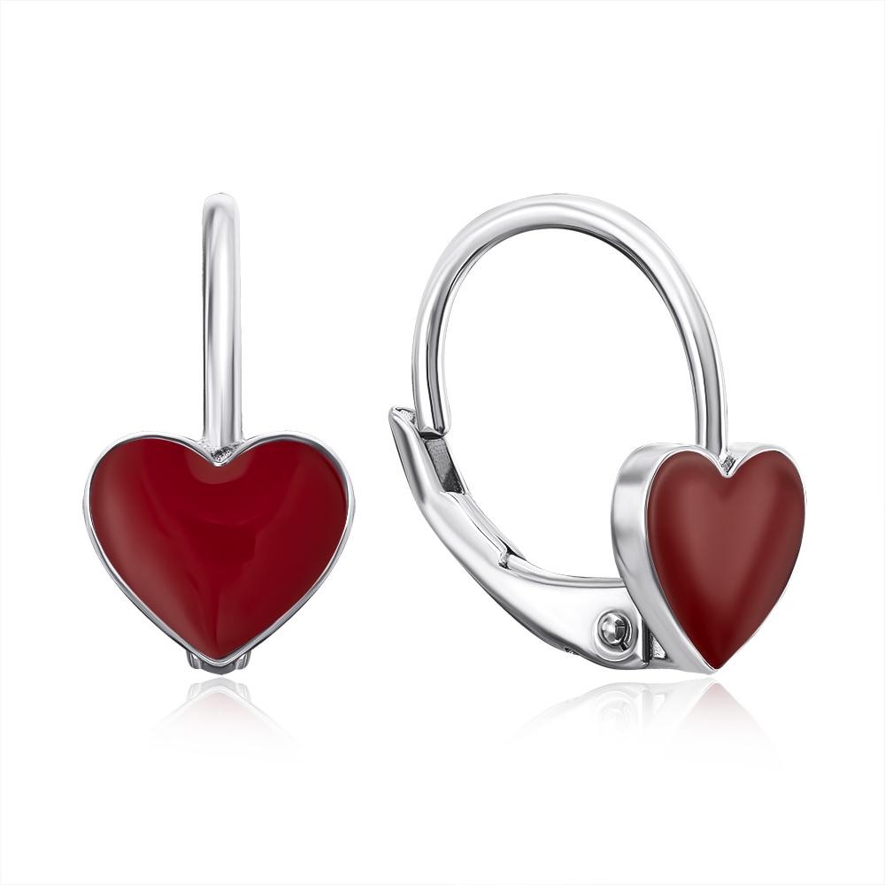 Срібні сережки-пусети «Серце» з емаллю. Артикул S3616-E/12/392