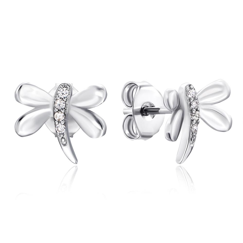 Срібні сережки-пусети «Бабка» з фіанітами. Артикул 2E24554-E/12/1