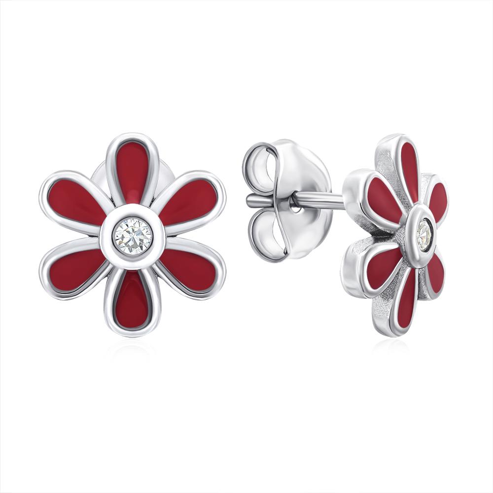 Срібні сережки-пусети «Квітка» з емаллю. Артикул E3904-E/12/1715