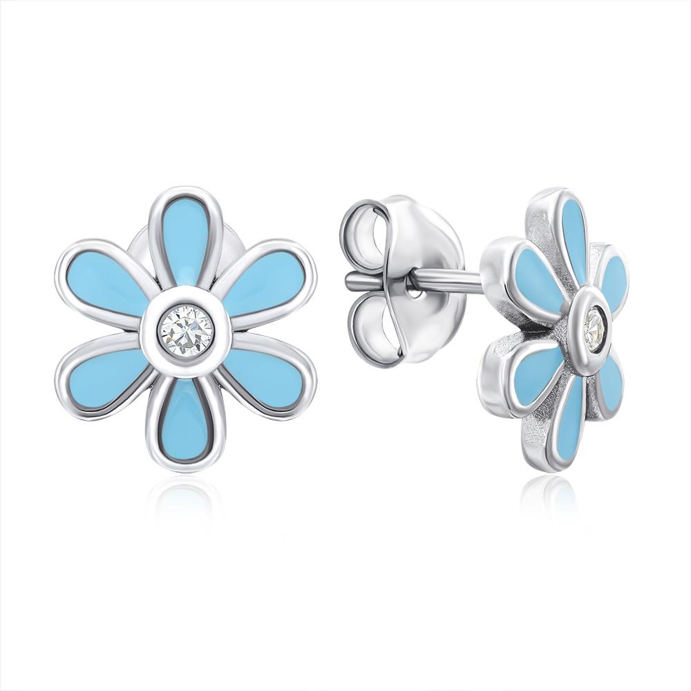 Срібні сережки-пусети «Квітка» з емаллю. Артикул E3904-E/12/3547