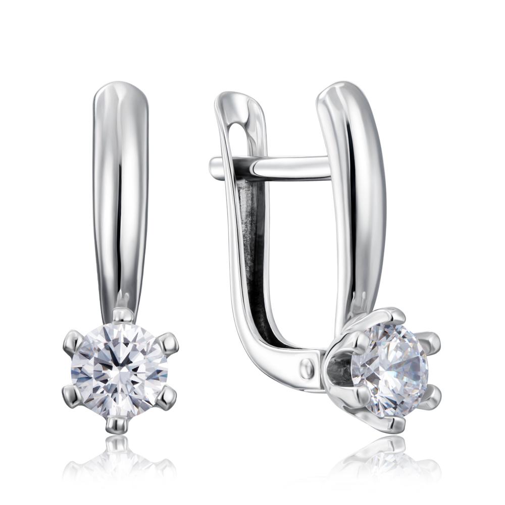 Срібні сережки з фіанітами Tesori Zirconia. Артикул 40448/12/1/4028