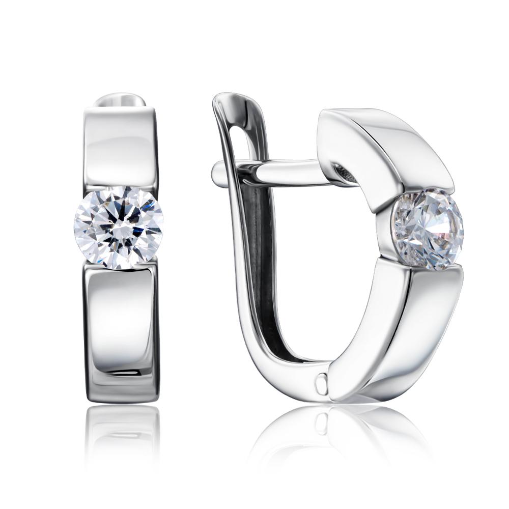Срібні сережки з фіанітами Tesori Zirconia. Артикул 40459/12/1/4027
