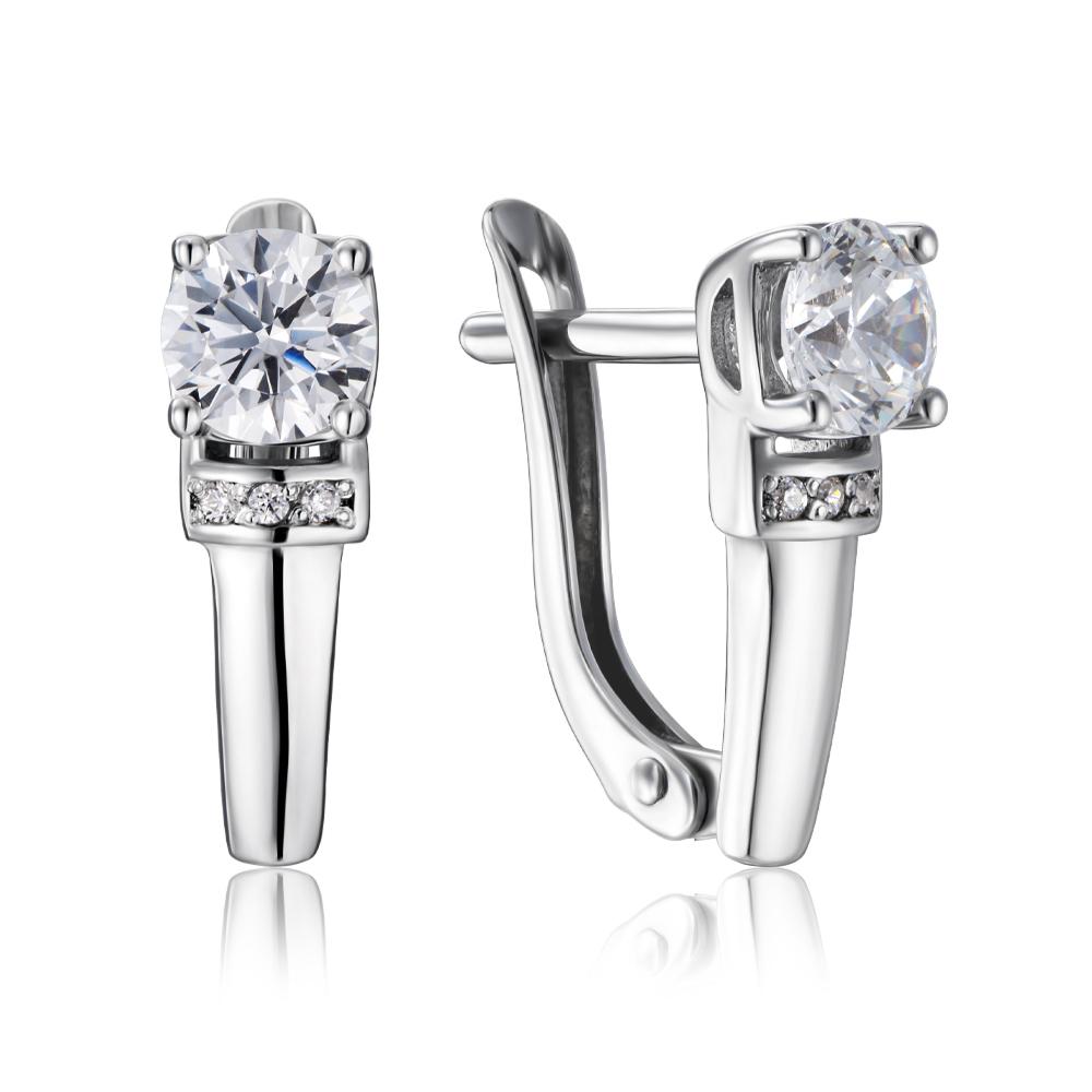Срібні сережки з фіанітами Tesori Zirconia. Артикул 40468/12/1/4031