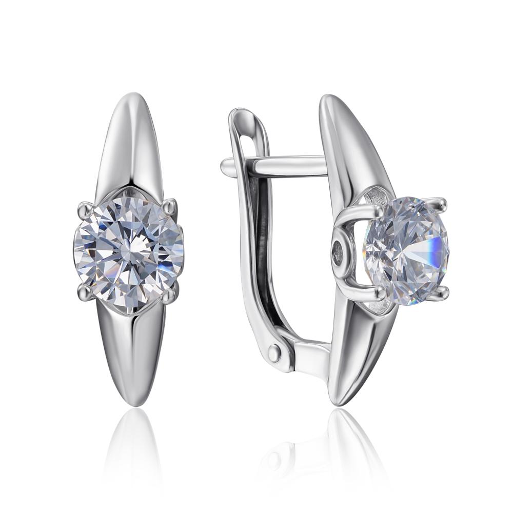 Срібні сережки з фіанітами Tesori Zirconia. Артикул 40470/12/1/4026