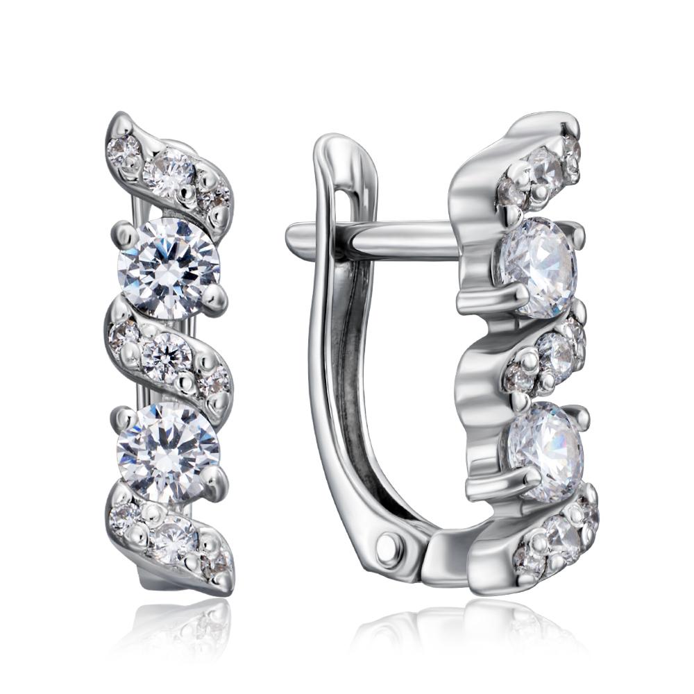 Срібні сережки з фіанітами Tesori Zirconia. Артикул 40507/12/1/4032