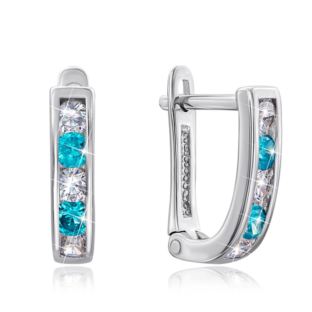 Срібні сережки з блакитними фіанітами. Артикул 40515/12/1/185