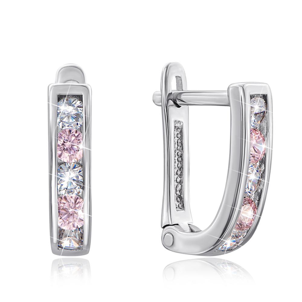 Срібні сережки з рожевими фіанітами. Артикул 40515/12/1/260