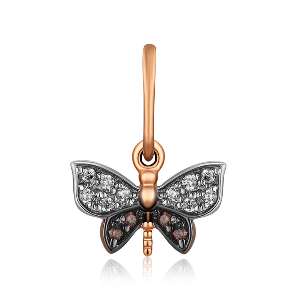 Золота підвіска «Метелик» з фіанітами. Артикул 31272/цв