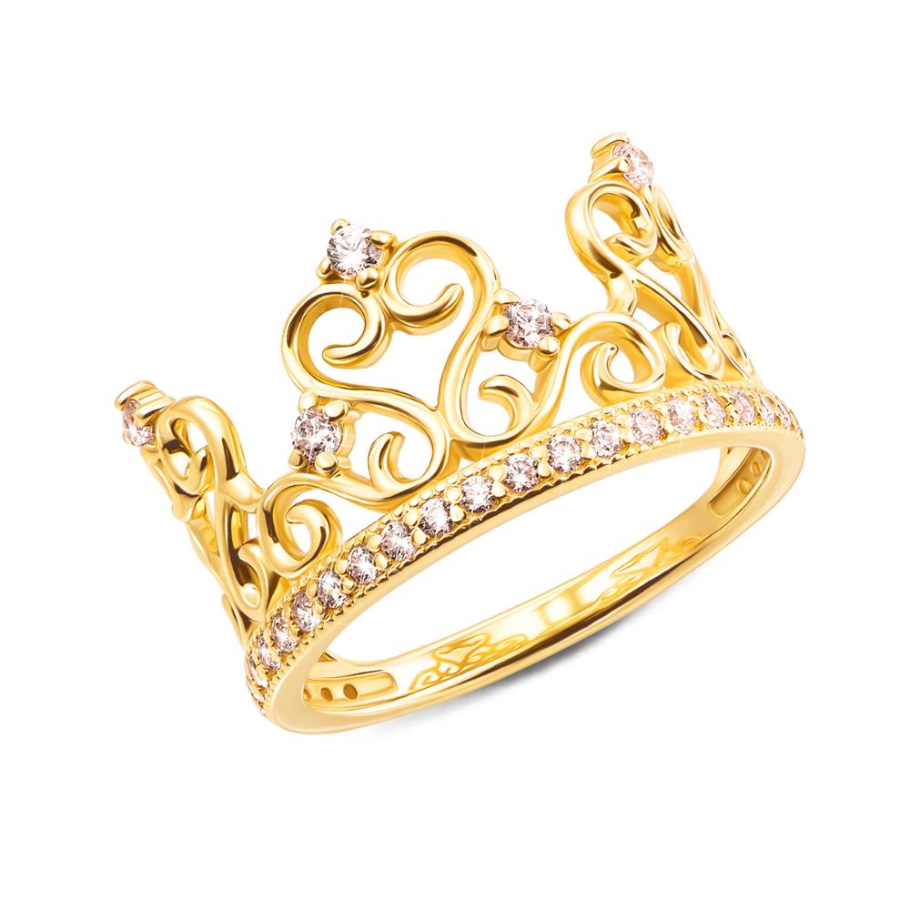 Золотое кольцо «Корона» с фианитами (13127/03/0/62)
