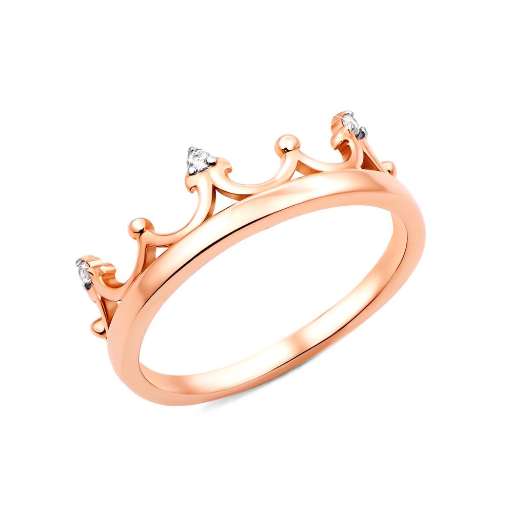 Золотое кольцо Корона с фианитами (13190/01/1/13)