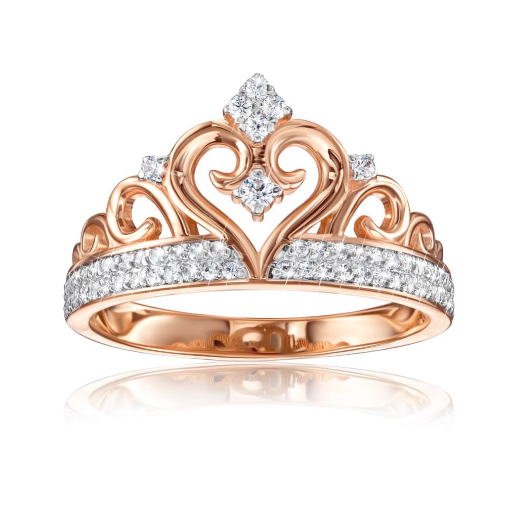Золотое кольцо «Корона» с фианитами. Артикул 13226/01/1/926