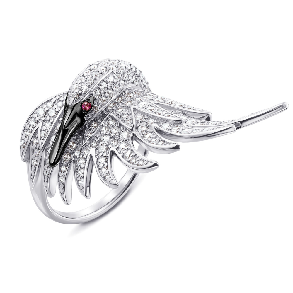 Золотое кольцо «Лебедь» с фианитами. Артикул 13116/02/1/373