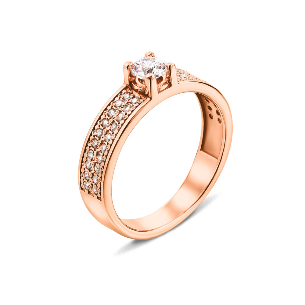 Золотое кольцо с фианитами (12555)