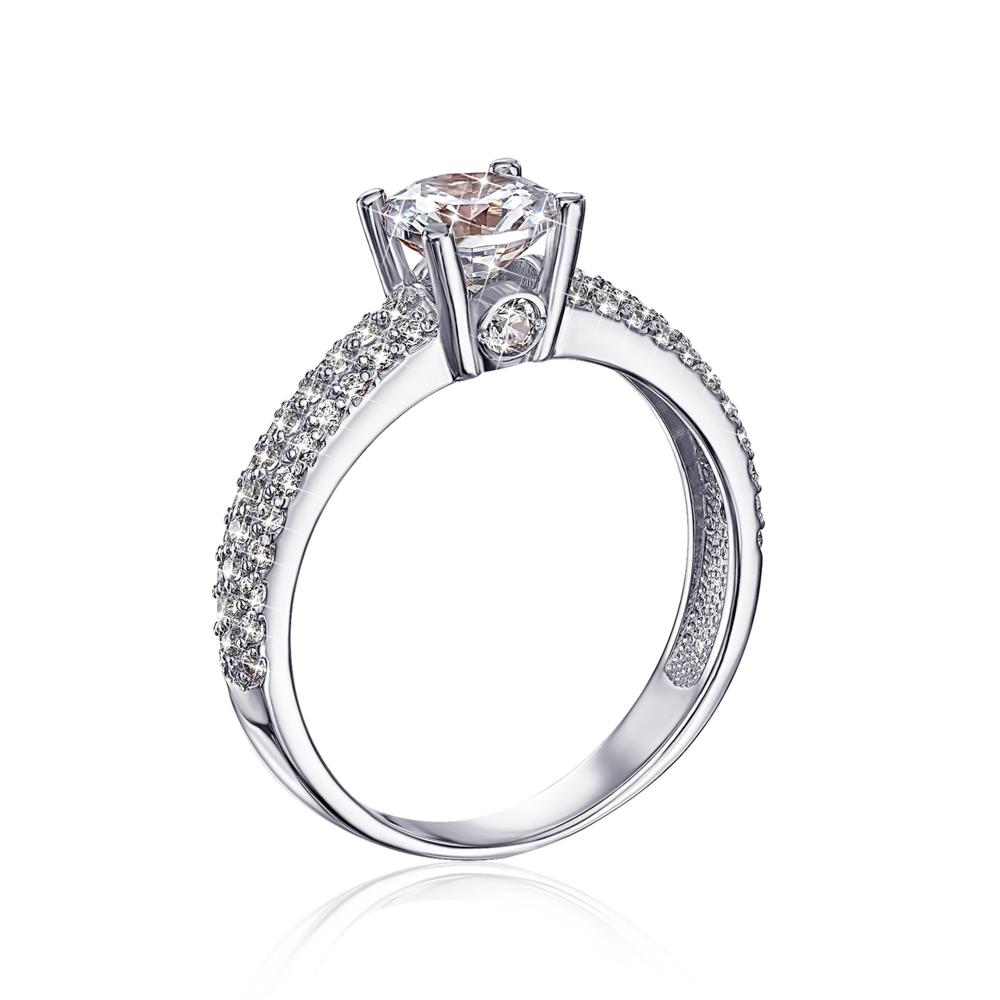 Золотое кольцо с фианитами. Артикул 12126/б