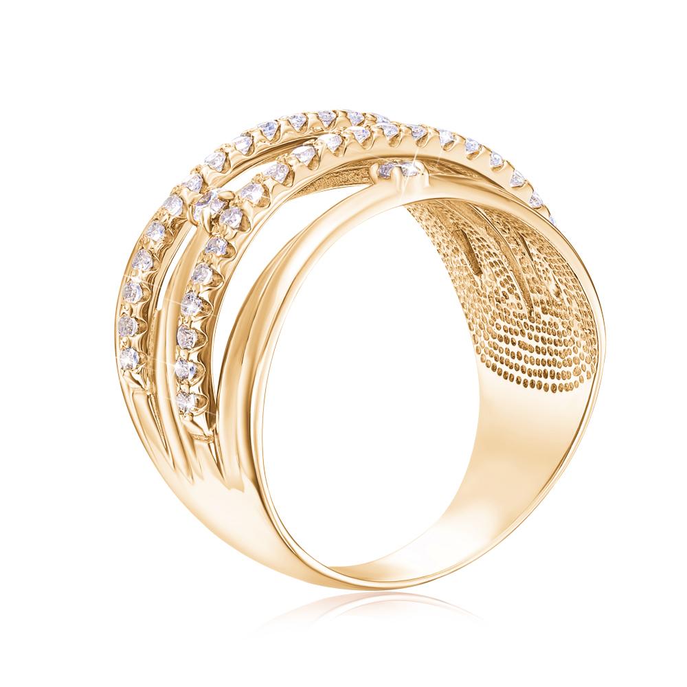 Золотое кольцо с фианитами. Артикул 12922/eu